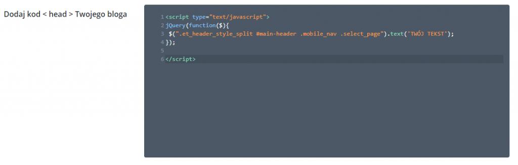 javascript zmiana menu zaznacz strone divi